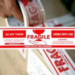 Printing packing tape FRAGILE手渡し